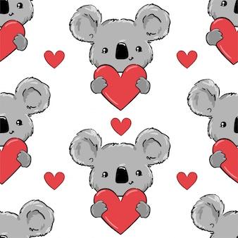 Padrão sem emenda de coala e corações.