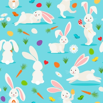 Padrão sem emenda de coelho branco bonito. coelhinho da páscoa