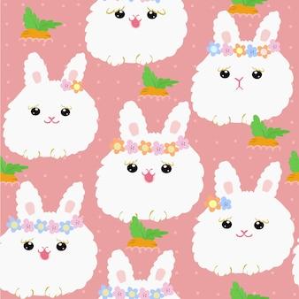Padrão sem emenda de coelho branco bonito dos desenhos animados.