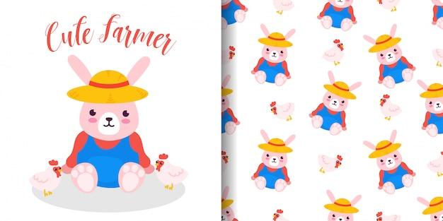 Padrão sem emenda de coelho de agricultor com cartão de chuveiro de bebê de desenhos animados de ilustração