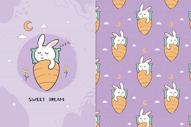 Padrão sem emenda de coelho de sonho doce