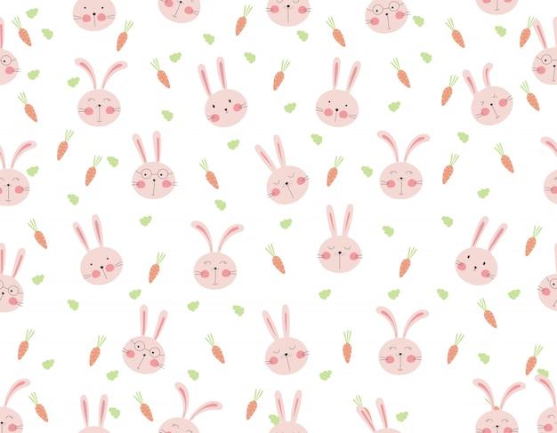 Padrão sem emenda de coelho fofo com cenoura