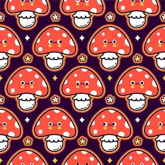 Padrão sem emenda de cogumelo amanita engraçado fofo