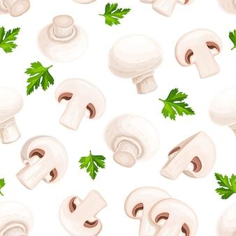 Padrão sem emenda de cogumelos champignon