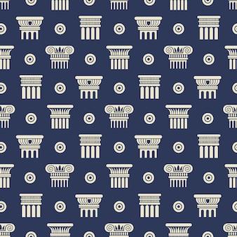 Padrão sem emenda de colunas antigas grega e romana