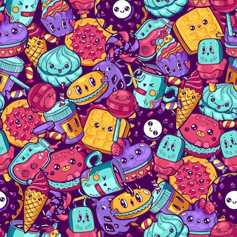Padrão sem emenda de comida colorida kawaii desenhos animados doodle personagem doce. loja de doces para rosto emocional