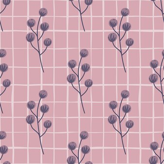 Padrão sem emenda de comida da floresta com impressão de silhuetas de frutos silvestres roxos