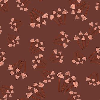 Padrão sem emenda de comida de outono com silhuetas de cogumelo de psilocibo semilanceata aleatório de floresta. fundo marrom. ilustração das ações. desenho vetorial para têxteis, tecidos, papel de embrulho, papéis de parede.