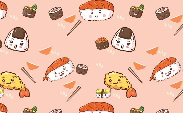 Padrão sem emenda de comida de sushi