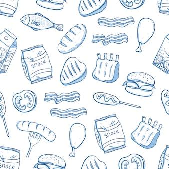 Padrão sem emenda de comida deliciosa almoço com doodle ou mão desenhada estilo