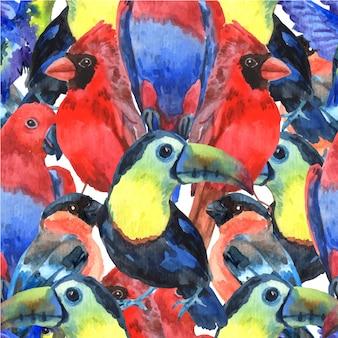 Padrão sem emenda de composição colorida de pássaros tropicais para serigrafia com papagaios