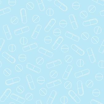 Padrão sem emenda de comprimidos de medicamento - arte de linha branca vetor diferente círculo pílulas e cápsulas sobre fundo azul.