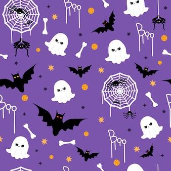 Padrão sem emenda de conceito fofo e engraçado de halloween