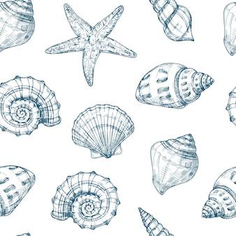 Padrão sem emenda de conchas do mar