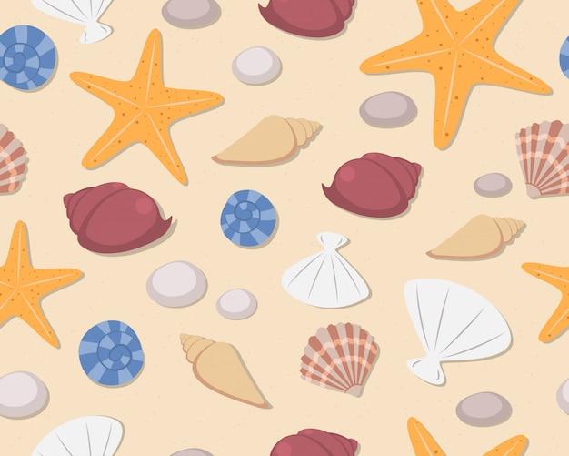 Padrão sem emenda de conchas e estrelas do mar