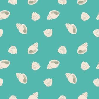 Padrão sem emenda de conchas sobre fundo azul. ilustração vetorial oceano