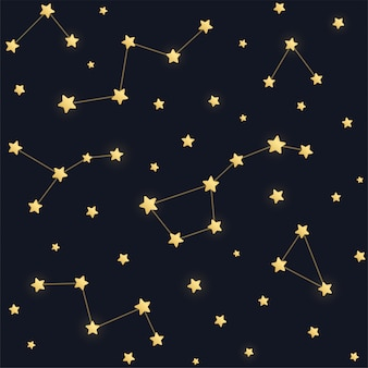 Padrão sem emenda de constelações. estrelas douradas sobre fundo de céu escuro da noite.