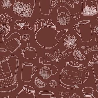Padrão sem emenda de contorno com ferramentas de mão desenhada para preparar e beber chá - chaleira elétrica, prensa francesa, bule, xícara, caneca, açúcar, limão, ervas e especiarias. ilustração para impressão em tecido.