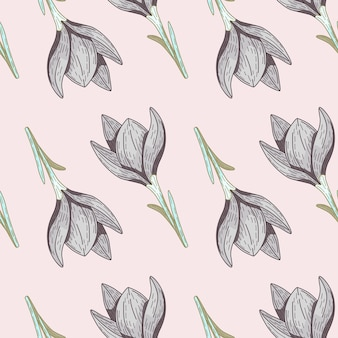Padrão sem emenda de contorno com ornamento de silhuetas de flores fofas