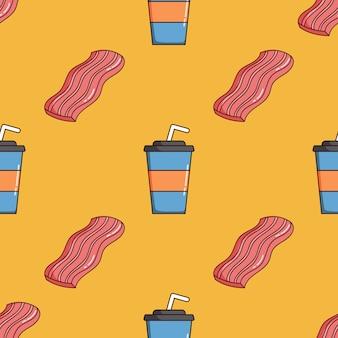 Padrão sem emenda de copo de papel de bacon e refrigerante com estilo doodle