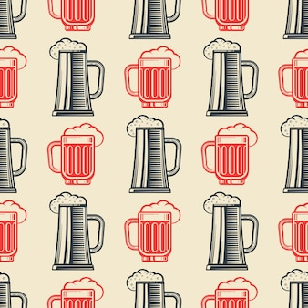 Padrão sem emenda de copos de cerveja vintage