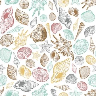 Padrão sem emenda de cor na moda de conchas do mar. fundo marinho desenhado à mão realista com concha de molusco aquático do oceano da natureza