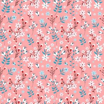 Padrão sem emenda de cor pastel de flor com fundo rosa