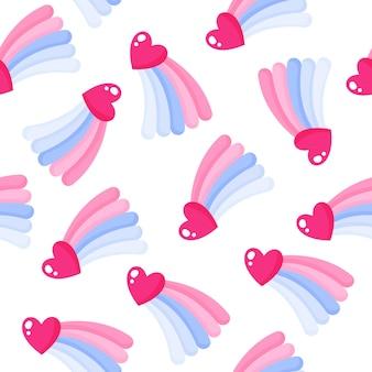 Padrão sem emenda de coração e arco-íris para o casamento ou dia dos namorados.