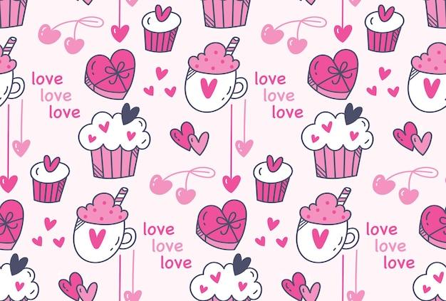 Padrão sem emenda de coração e muffins fofo