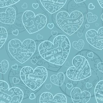 Padrão sem emenda de corações com cachos e inscrições, em cores turquesas