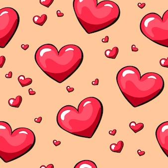 Padrão sem emenda de corações de dia dos namorados
