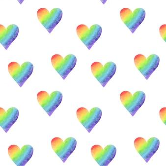 Padrão sem emenda de corações em aquarela simples arco-íris