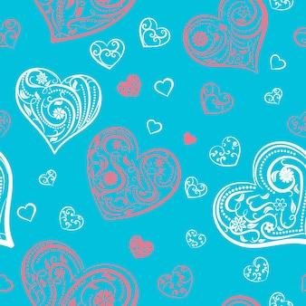 Padrão sem emenda de corações grandes e pequenos com ornamento de cachos, flores e folhas, vermelho e branco em azul claro