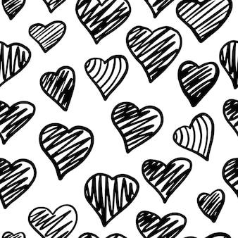 Padrão sem emenda de corações preto e branco. pano de fundo do dia dos namorados. fundo de 14 de fevereiro. ornamento desenhado de mão, textura no fundo. modelo de casamento. ilustração vetorial.