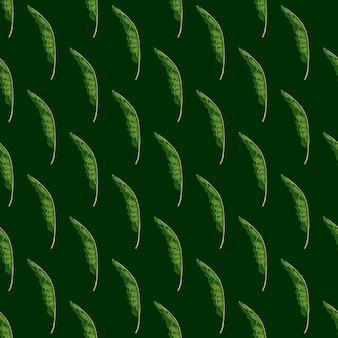 Padrão sem emenda de cores verdes com formas de folhagem de palmeira tropical. fundo escuro. ornamento de vegetação.