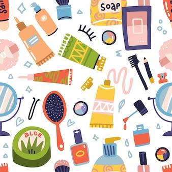 Padrão sem emenda de cosméticos e maquiagem. tubo de creme, batom, esmalte, sabonete, sombras para os olhos, espelho redondo. conjunto de ícones plana mão desenhada. coisas de mulher, acessórios de meninas. rosto, produtos para cuidados com a pele.