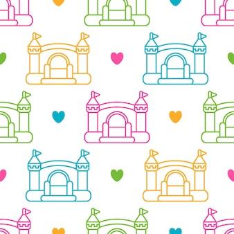 Padrão sem emenda de crianças com castelos infláveis infláveis e corações vector fundo colorido