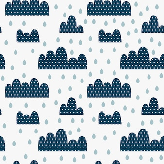 Padrão sem emenda de crianças com nuvens em pontos, gotas e chuva.