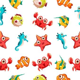 Padrão sem emenda de crianças com vida marinha