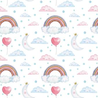 Padrão sem emenda de crianças em aquarela com giros arco-íris, nuvens e luas
