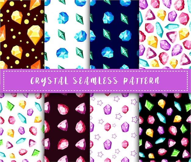 Padrão sem emenda de cristal - arco-íris colorido cristais ou gemas fundo infinito