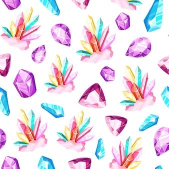 Padrão sem emenda de cristal - cristais coloridos ou pedras preciosas
