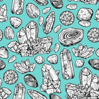 Padrão sem emenda de cristal de pedras