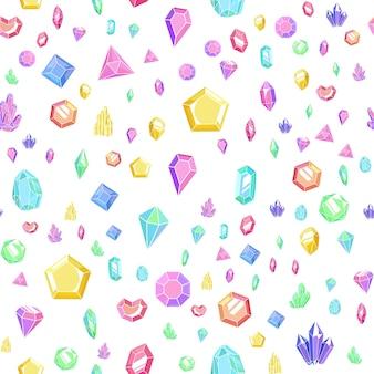 Padrão sem emenda de cristal e gema. textura abstrata brilhante com cristais e pedras preciosas, minerais e diamantes. fundo colorido de vetor com elementos isolados