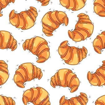 Padrão sem emenda de croissants franceses