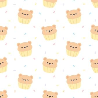 Padrão sem emenda de cupcake de urso fofo
