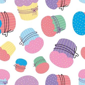 Padrão sem emenda de cupcake ilustração vetorial de padrão de bolo de férias