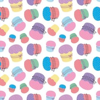 Padrão sem emenda de cupcake padrão de bolo de páscoa