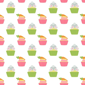Padrão sem emenda de cupcakes de páscoa fofos com coelho, frango e cenoura