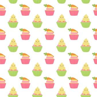 Padrão sem emenda de cupcakes de páscoa fofos com frango e cenoura